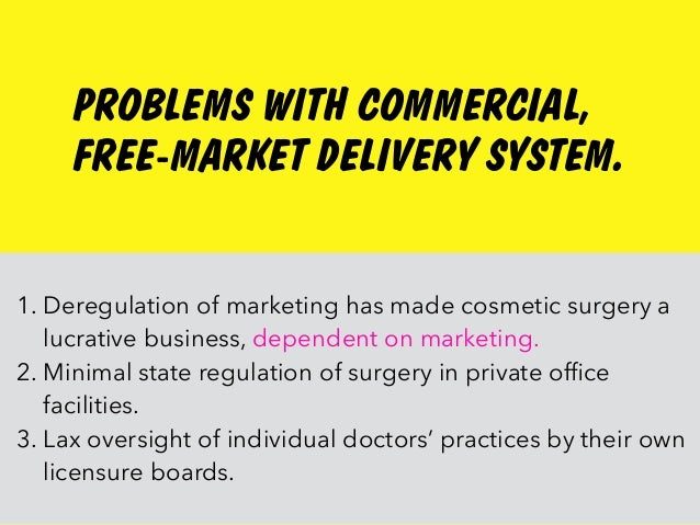PROBLEMS WITH COMMERCIAL, FREE-MARKET DELIVERY SYSTEM. 1. Deregulation of marketing has made cosmetic surgery a lucrative ...