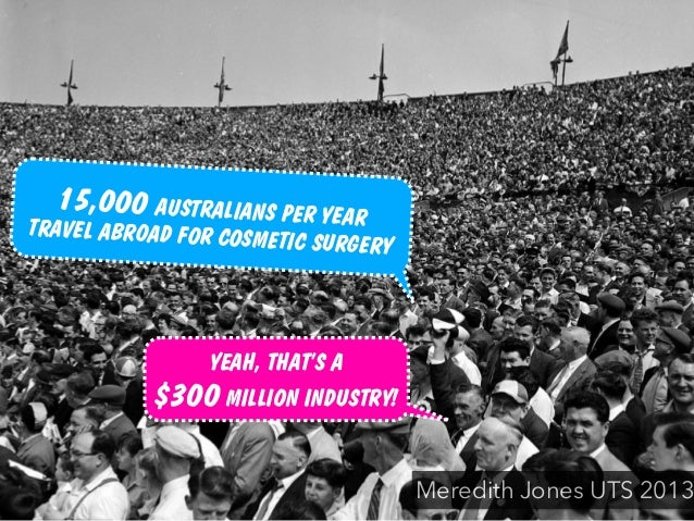 YEAH, THAT'S A $300 MILLION INDUSTRY! Meredith Jones UTS 2013 15,000 AUSTRALIANS PER YEARTRAVEL ABROAD FOR COSMETIC SURGERY