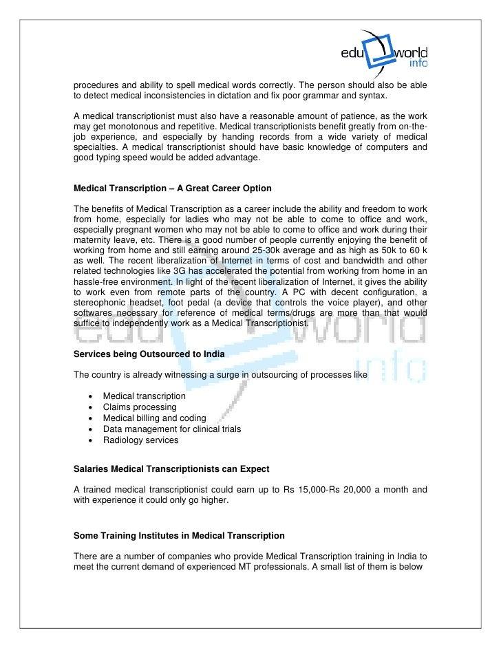 What Is A Medical Transcriptionist Job Description. Health Administration Jobs  Medical Transcriptionist ...
