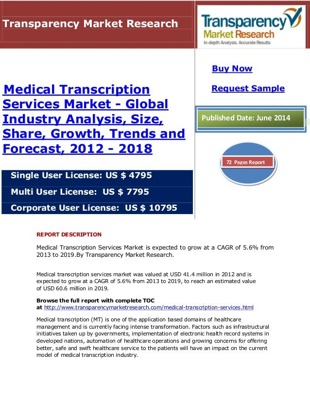 REPORT DESCRIPTION Medical Transcription Services Market is expected to grow at a CAGR of 5.6% from 2013 to 2019.By Transp...