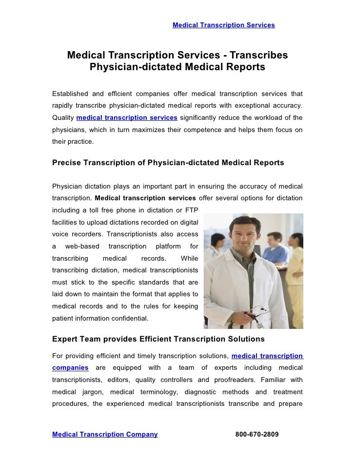 Types of Medical Transcription Reports, Documents and ...  Medical Transcription Report