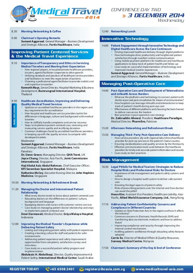 Medical Travel Conference Agenda in Singapore – Conference Agenda