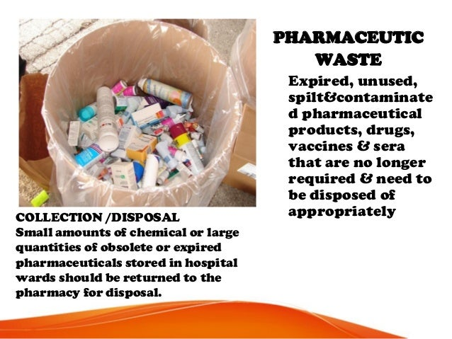 PHARMACEUTIC WASTE Expired, unused, spilt&contaminate d pharmaceutical products, drugs, vaccines & sera that are no longer...