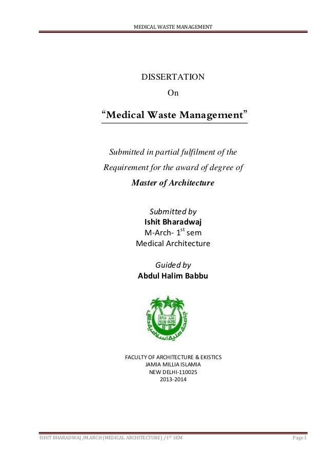 biomedical waste thesis Assessment of medical waste management in educational hospitals of tehran university medical science  attitude and practices regarding biomedical waste management.