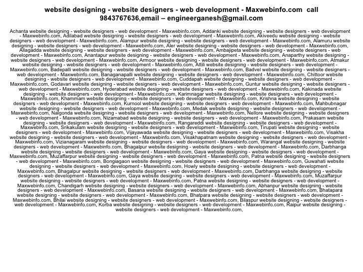 website designing - website designers - web development - Maxwebinfo.com  call 9843767636,email – engineerganesh@gmail.com...