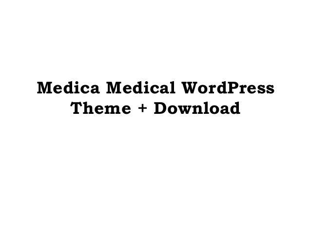 Medica Medical WordPress Theme + Download