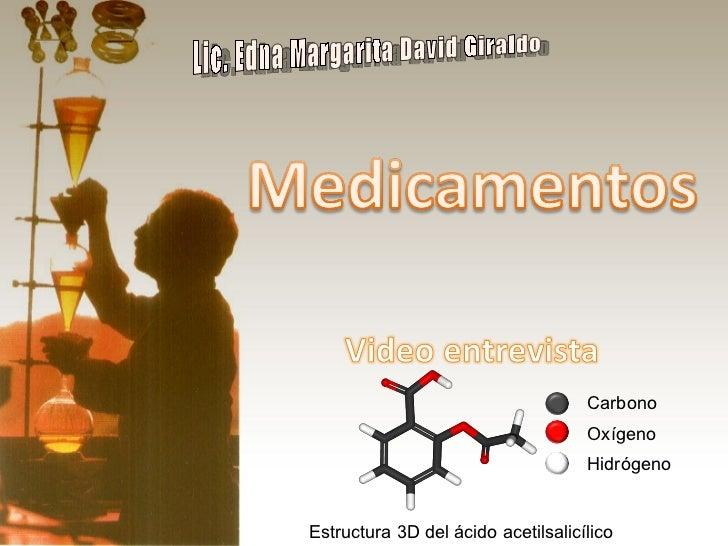 Lic. Edna Margarita David Giraldo Estructura 3D del ácido acetilsalicílico Carbono Oxígeno Hidrógeno