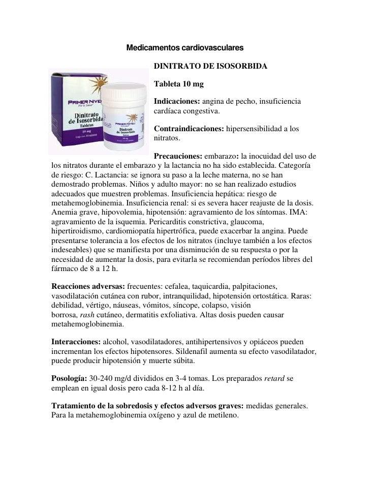 Medicamentos cardiovasculares                                DINITRATO DE ISOSORBIDA                                Tablet...