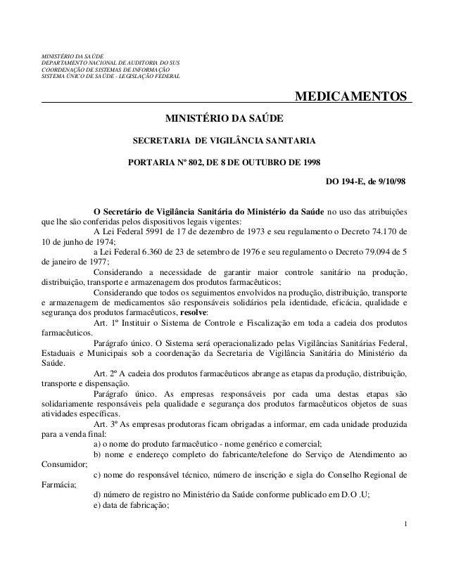 MINISTÉRIO DA SAÚDE DEPARTAMENTO NACIONAL DE AUDITORIA DO SUS COORDENAÇÃO DE SISTEMAS DE INFORMAÇÃO SISTEMA ÚNICO DE SAÚDE...