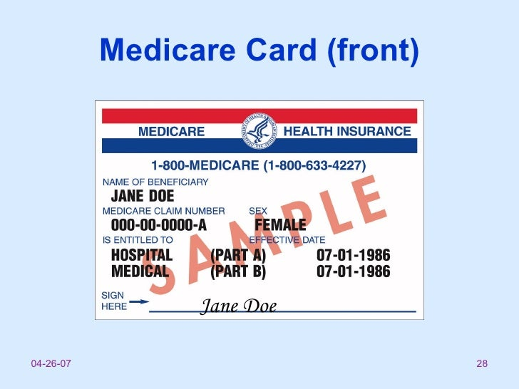 Medicare Parte D: Medicare Part B Card
