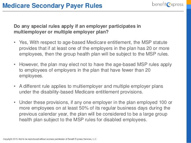 Medicare for employers 101 medicare secondary payer rules these prohibitions apply ccuart Choice Image