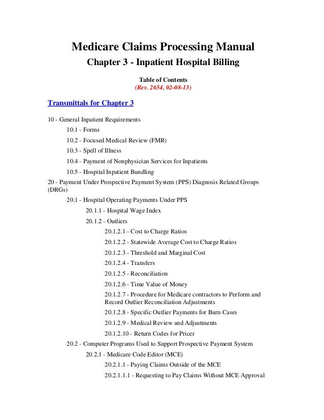 Medicare Claims Processing Manual