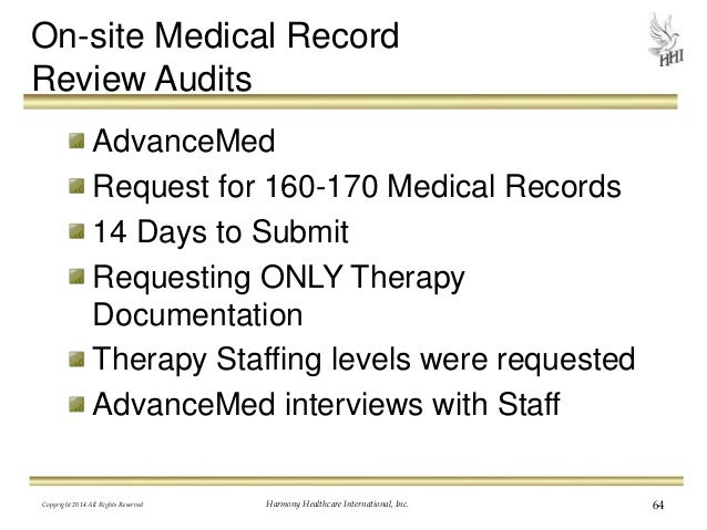 64 on site medical record review audits advancemed request