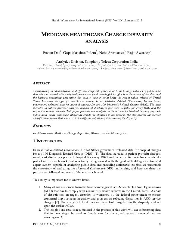 Health Informatics- An International Journal (HIIJ) Vol.2,No.3,August 2013  MEDICARE HEALTHCARE CHARGE DISPARITY ANALYSIS ...