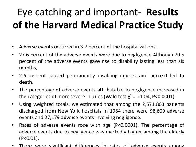 Eye catching and important- Results of the Harvard Medical Practice Study • Adverse events occurred in 3.7 percent of the ...