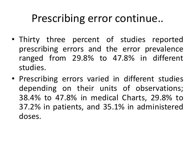 • In 2000, Studies carried out in US hospitals suggest that prescribing errors occur in 0.4– 1.9%.