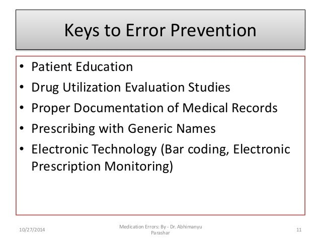 Medication Errors Causes Assessment Evaluation And