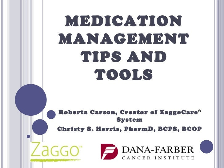 MEDICATIONMANAGEMENT  TIPS AND   TOOLSRoberta Carson, Creator of ZaggoCare ®                SystemChristy S. Harris, Pharm...