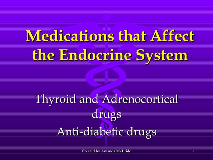 Medications that Affect the Endocrine System Thyroid and Adrenocortical drugs Anti-diabetic drugs Created by Amanda McBride