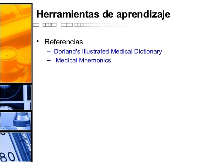 Herramientas de aprendizaje <ul><li>Referencias </li></ul><ul><ul><li>Dorland's   Illustrated  Medical  Dictionary </li></...