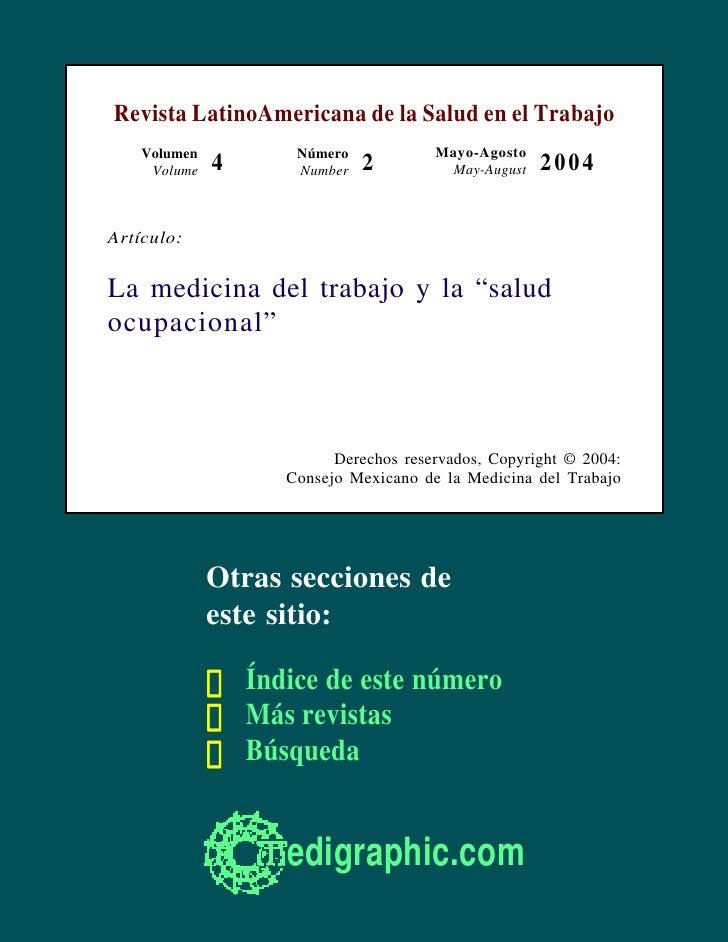 Revista LatinoAmericana de la Salud en el Trabajo     Volumen          Número            Mayo-Agosto      Volume   4      ...