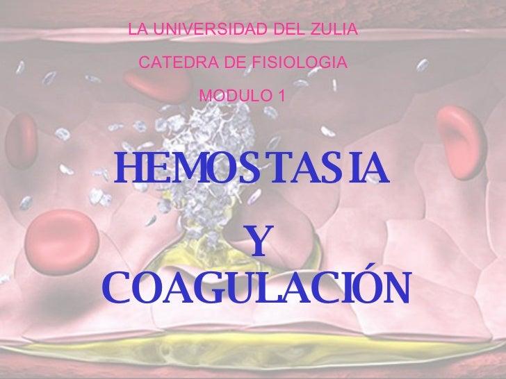 LA UNIVERSIDAD DEL ZULIA CATEDRA DE FISIOLOGIA MODULO 1 HEMOSTASIA  Y COAGULACIÓN
