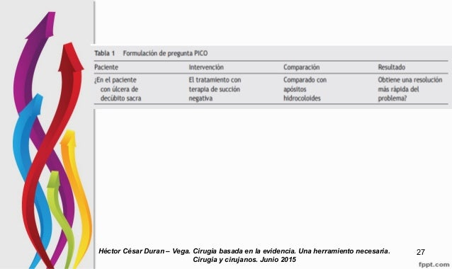 Héctor César Duran – Vega. Cirugia basada en la evidencia. Una herramiento necesaria. Cirugia y cirujanos. Junio 2015 27