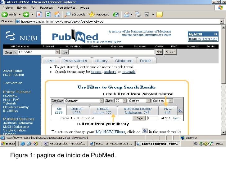 Figura 1: pagina de inicio de PubMed.