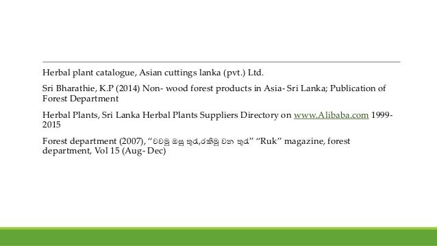 Medicinal plants as a non timber forest product(NTFP) of Sri lanka