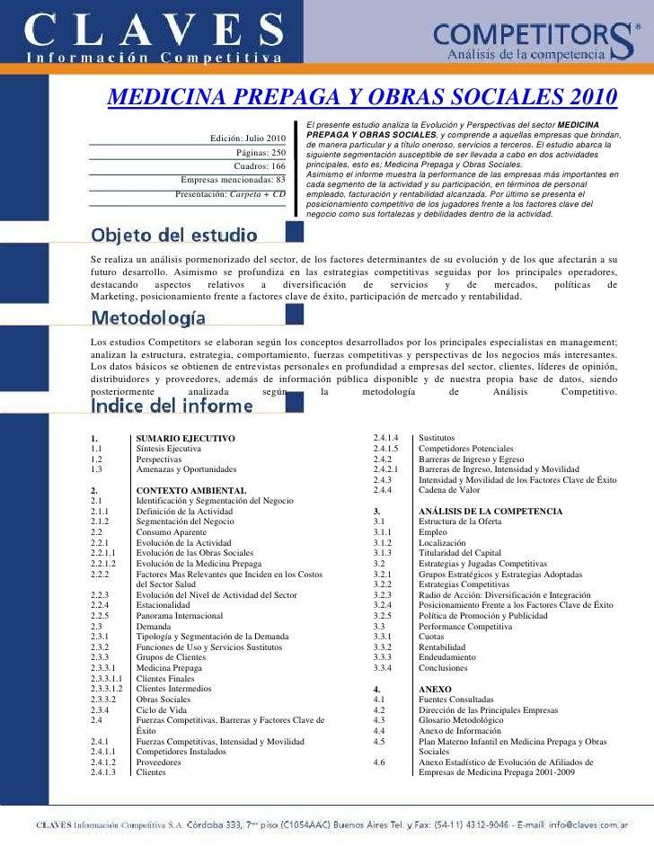 MEDICINA PREPAGA Y OBRAS SOCIALES 2010                                                          El presente estudio analiz...