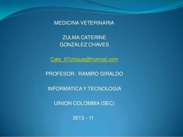 MEDICINA VETERINARIA     ZULMA CATERINE    GONZALEZ CHAVES Cate_97chiquis@hotmail.comPROFESOR: RAMIRO GIRALDOINFORMATICA Y...