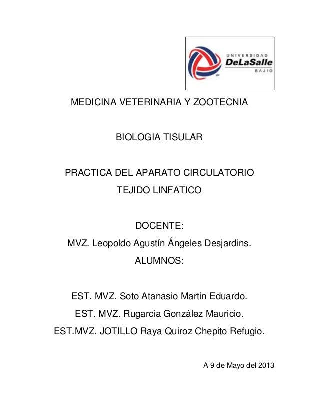 MEDICINA VETERINARIA Y ZOOTECNIABIOLOGIA TISULARPRACTICA DEL APARATO CIRCULATORIOTEJIDO LINFATICODOCENTE:MVZ. Leopoldo Agu...