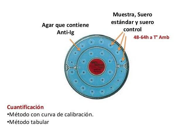 Agar que contiene Anti-Ig Muestra, Suero estándar y suero control 48-64h a T° Amb Cuantificación •Método con curva de cali...