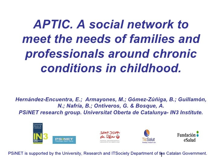 APTIC. A social network to      meet the needs of families and      professionals around chronic        conditions in chil...