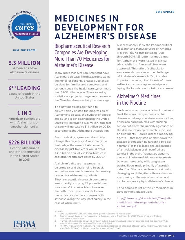 JUST THE FACTS1 2016 UPDATE MEDICINES IN DEVELOPMENT FOR ALZHEIMER'S DISEASE 5.3 MILLION Americans have Alzheimer's diseas...