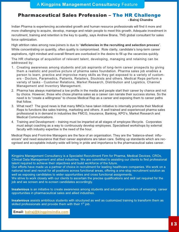 A Kingpins Management Consultancy Feature    Pharmaceutical Sales Profession – The HR Challenge                           ...
