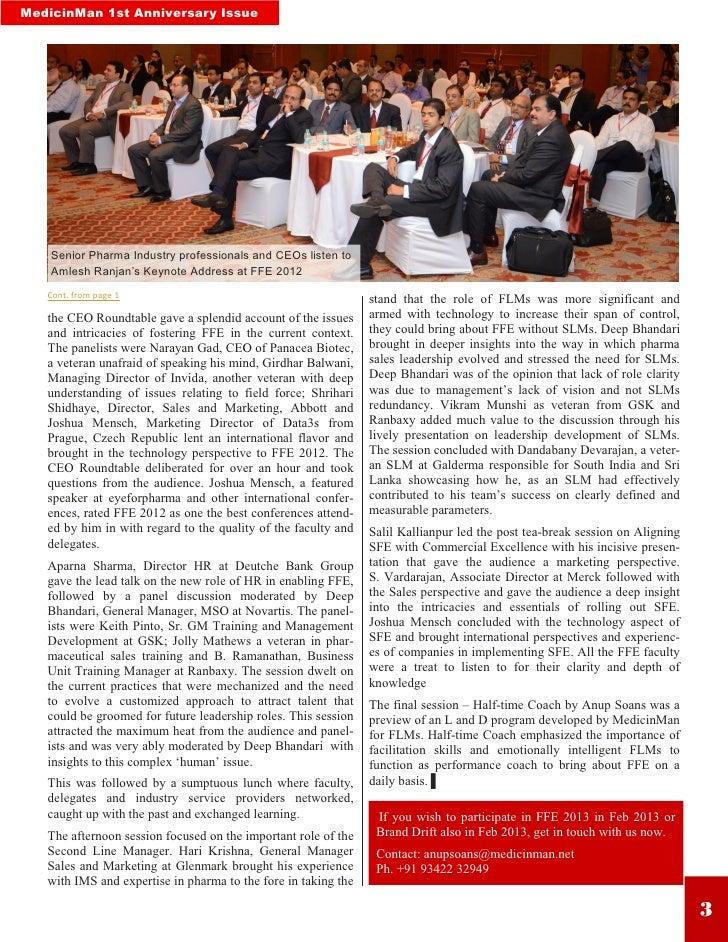 "MedicinMan 1st Anniversary Issue    Senior Pharma Industry professionals and CEOs listen to    Amlesh Ranjan""s Keynote Add..."