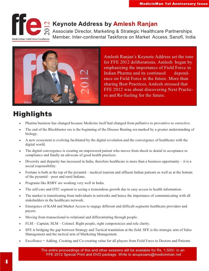 MedicinMan 1st Anniversary Issue                           Keynote Address by Amlesh Ranjan                           Asso...