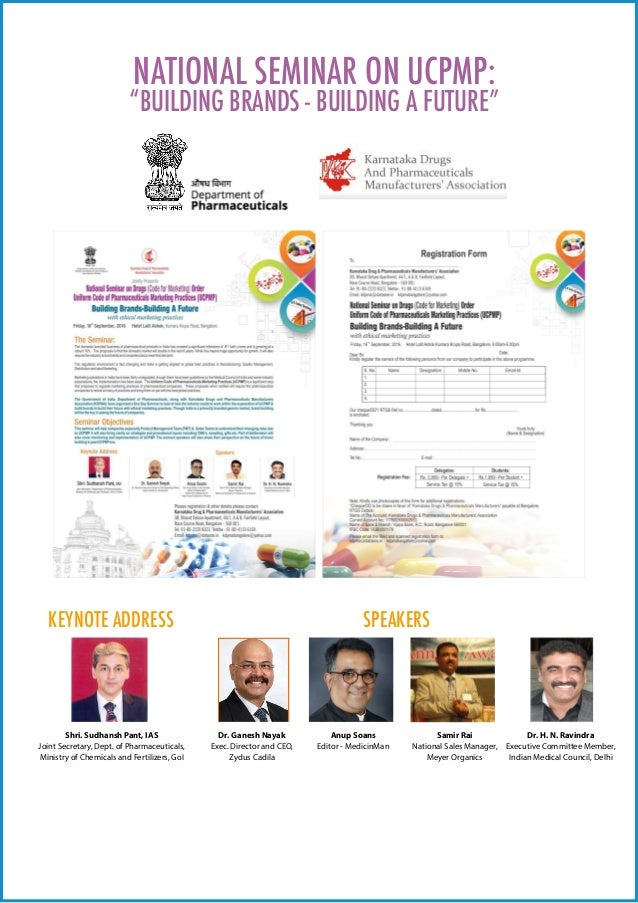 "NATIONAL SEMINAR ON UCPMP: ""BUILDING BRANDS - BUILDING A FUTURE"" KEYNOTE ADDRESS SPEAKERS Shri. Sudhansh Pant, IAS Joint S..."