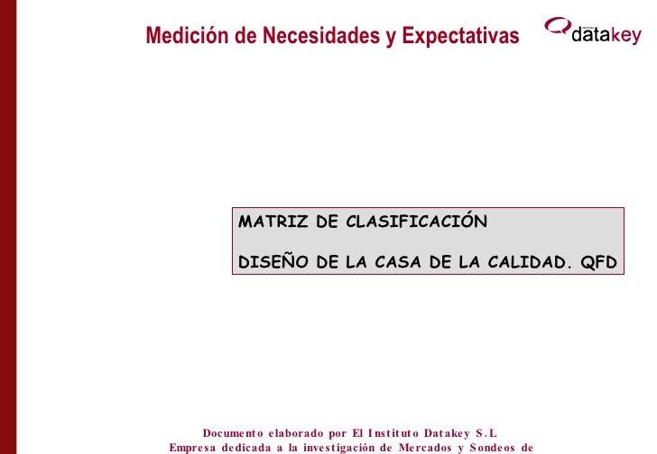 Medición de Necesidades y Expectativas CLASIFICACIÓN ATRIBUTOS MATRIZ DE CLASIFICACIÓN DISEÑO DE LA CASA DE LA CALIDAD. QF...