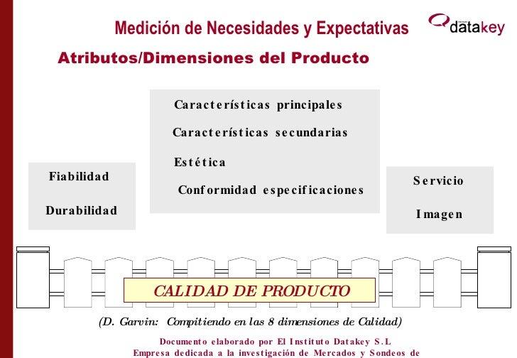 Medición de Necesidades y Expectativas Atributos/Dimensiones del Producto (D. Garvin:  Compitiendo en las 8 dimensiones de...