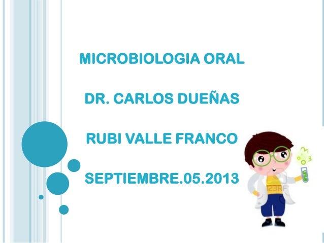 MICROBIOLOGIA ORAL DR. CARLOS DUEÑAS RUBI VALLE FRANCO SEPTIEMBRE.05.2013