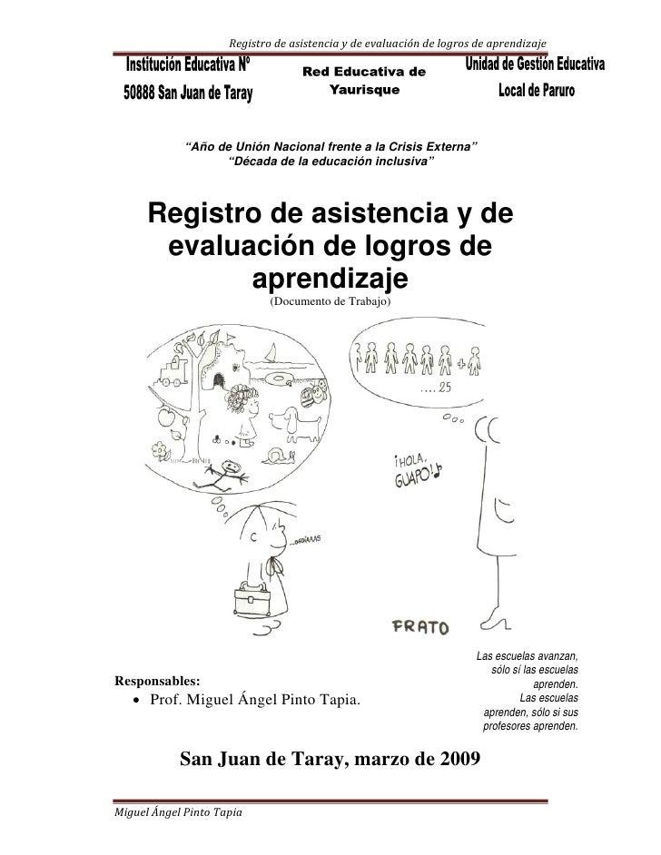 """Registrodeasistenciaydeevaluacióndelogrosdeaprendizaje                  """"Año de Unión Nacional frente a la Crisi..."""