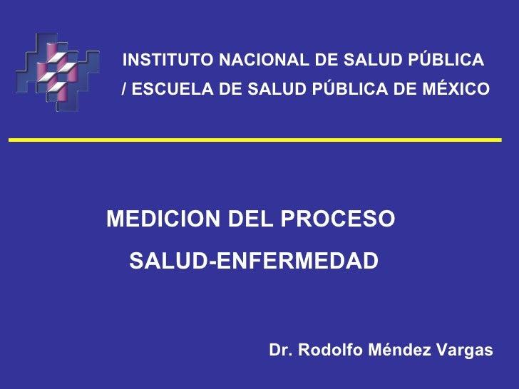 INSTITUTO NACIONAL DE SALUD PÚBLICA / ESCUELA DE SALUD PÚBLICA DE MÉXICOMEDICION DEL PROCESO SALUD-ENFERMEDAD             ...