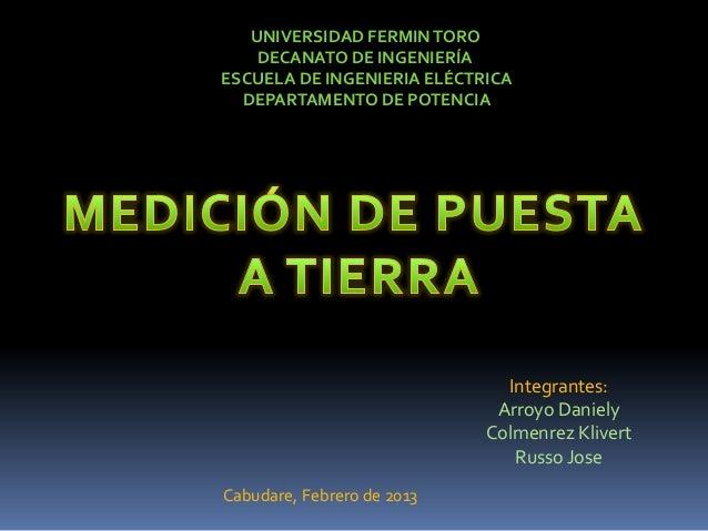 UNIVERSIDAD FERMIN TORO    DECANATO DE INGENIERÍAESCUELA DE INGENIERIA ELÉCTRICA  DEPARTAMENTO DE POTENCIA                ...