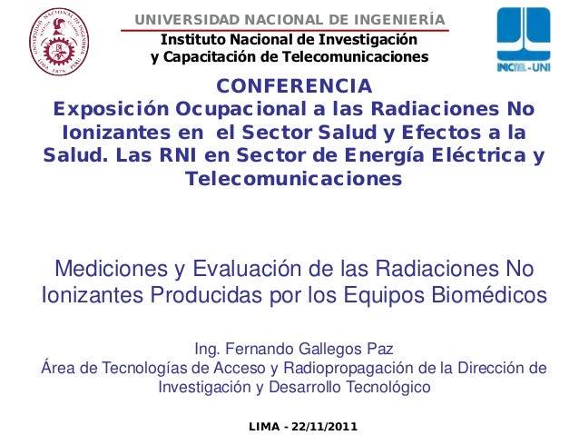 Instituto Nacional de Investigación y Capacitación de Telecomunicaciones UNIVERSIDAD NACIONAL DE INGENIERÍA CONFERENCIA Ex...
