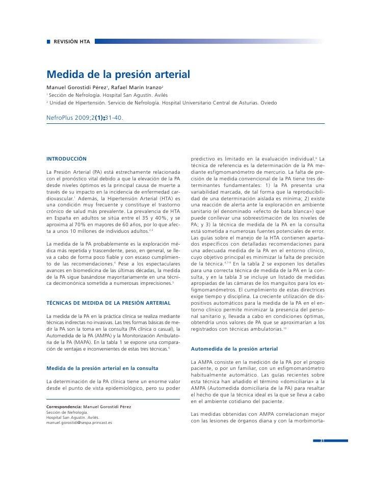 REVISIÓN HTAMedida de la presión arterialManuel Gorostidi Pérez1, Rafael Marín Iranzo21  Sección de Nefrología. Hospital S...