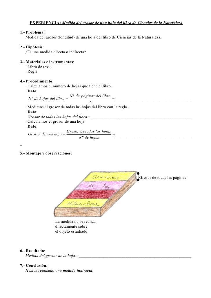 Medida del grosor de una hoja del libro de ciencias de la for Las medidas de una casa libro