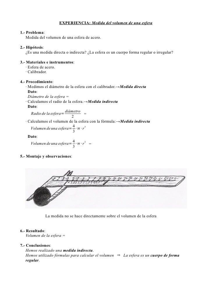 EXPERIENCIA: Medida del volumen de una esfera1.- Problema:    Medida del volumen de una esfera de acero.2.- Hipótesis:    ...