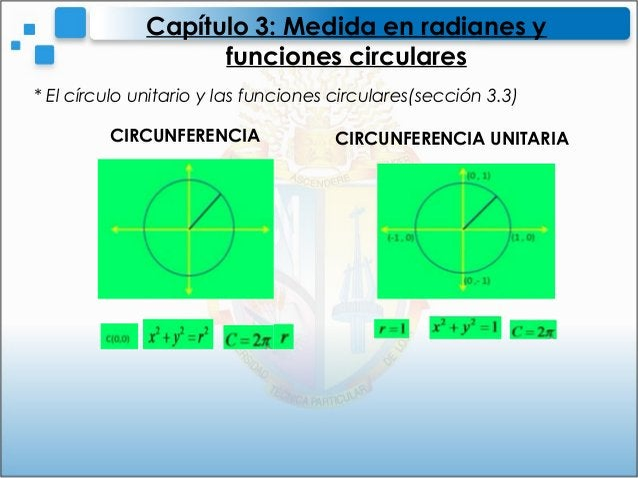 * El círculo unitario y las funciones circulares(sección 3.3)Capítulo 3: Medida en radianes yfunciones circularesCIRCUNFER...